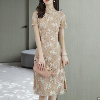 乔伊思 J92315408  夏季立领盘扣旗袍短袖连衣裙