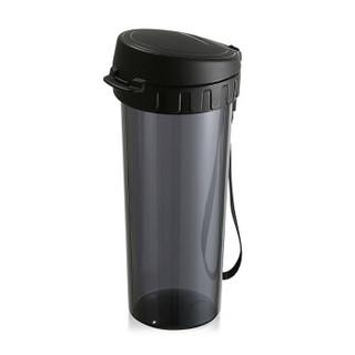 特百惠(Tupperware)茶韵塑料杯 随心运动密封防漏茶水分离水杯子带拎绳茶隔 酷炫黑500ML