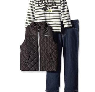 Calvin Klein 卡尔文·克莱 男童蓬松背心T恤牛仔裤套装 3673036-99 黑色 25.65x21.34x11.43cm