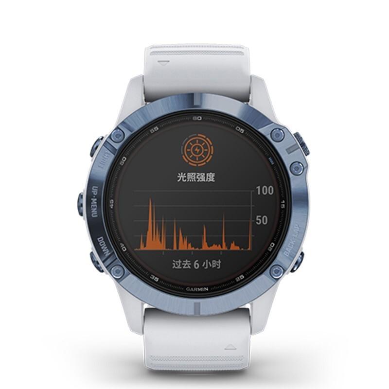 GARMIN 佳明 fenix6PVD冰蓝钛太阳能旗舰版钛合金表圈GPS心率专业户外智能运动血氧北斗高度多功能光动能手表