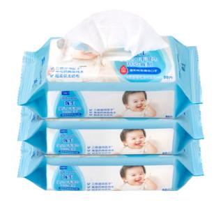 强生(Johnson) 婴儿手口湿巾(开心食刻)80片x3包 宝宝儿童专用湿巾