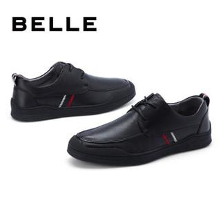京东PLUS会员 : BELLE 百丽 6UQ01AM0 男士一脚蹬系带小皮鞋