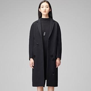 S.DEER 圣迪奥 S1748189991 女士 亮片 平驳领 长款毛呢大衣