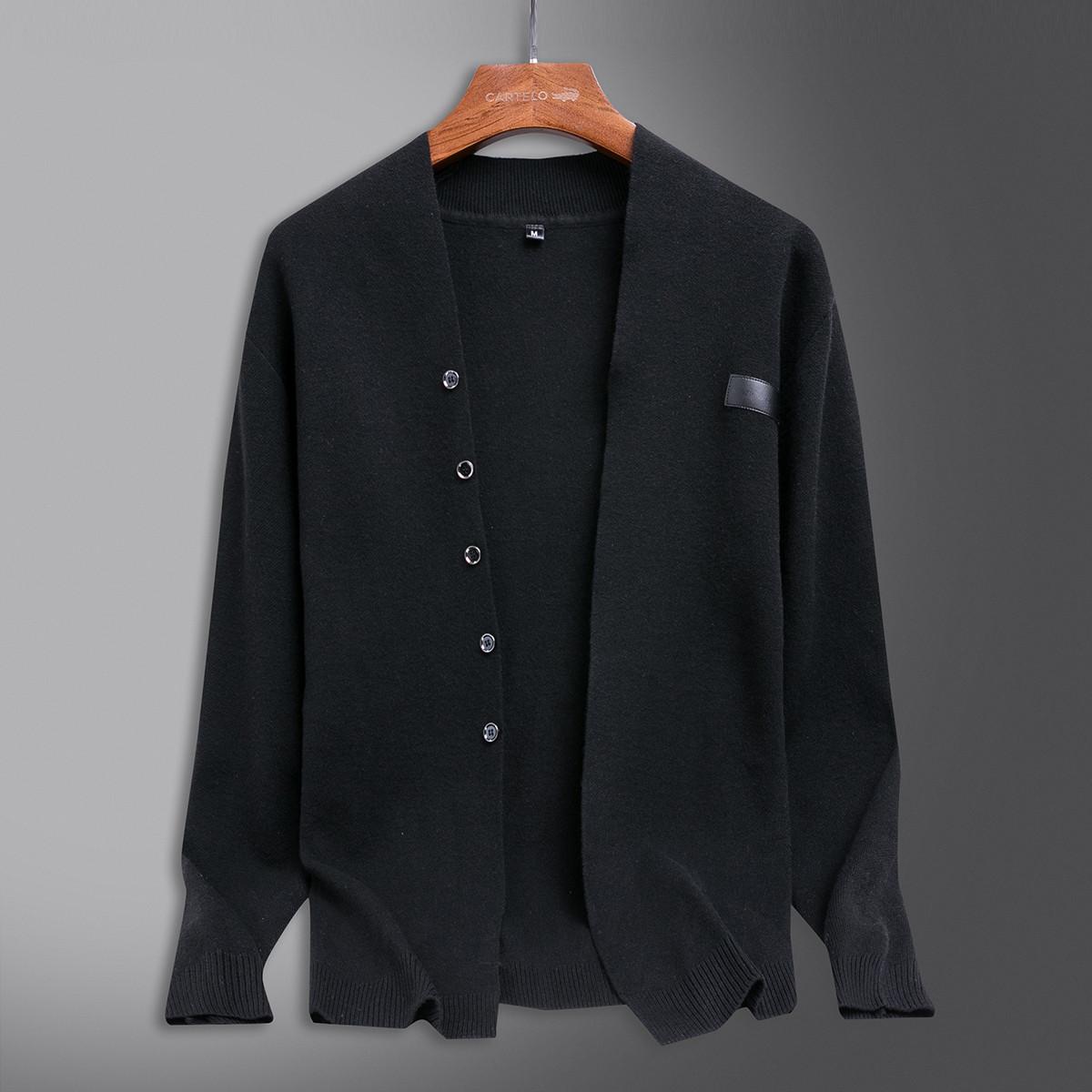 男士毛衣秋冬新款休闲百搭舒适纯色男式针织开衫外套