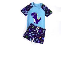 YUKE 羽克 儿童尖角恐龙泳衣套装 蓝色 M