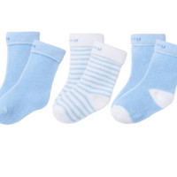Bornbay 贝贝怡 204P2299 儿童加厚保暖中筒袜三双装 淡蓝 2-4岁