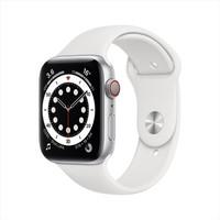 Apple 苹果 Apple Watch Series 6 智能手表 44mm GPS+蜂窝款 银色铝金属表壳 白色运动型表带 (血氧、GPS、扬声器)