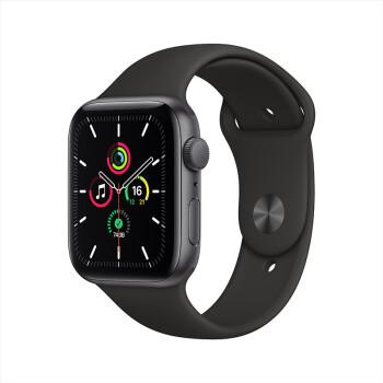 Apple 苹果 Watch SE 智能手表 GPS款 44毫米深空灰色铝金属表壳 黑色运动型表带MYDT2CH/A