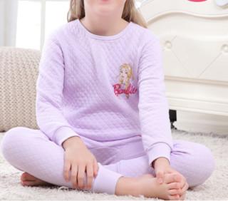 Barbie 芭比 女童三层保暖内衣套装 K76011 浅紫 140cm