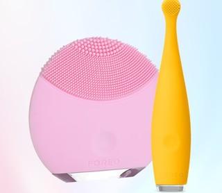 FOREO 斐珞尔 LUNA系列 MINI洁面仪+Mikro儿童电动牙刷  黄粉色