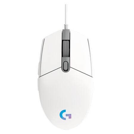 罗技(G)G102 游戏鼠标 白色 RGB鼠标 吃鸡鼠标 绝地求生 轻量化设计 200-8000DPI G102第二代