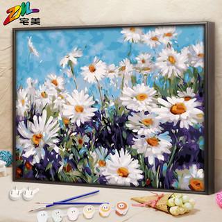 数字油画 diy油彩画向日葵猫咪风景填色画画手工填充涂色减压装饰