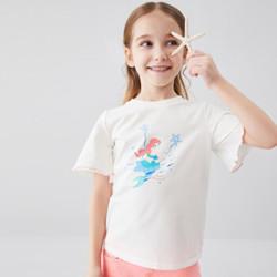 安奈儿童装女童T恤2020夏季荷叶边袖子美人鱼小女孩短袖体恤米白150 *3件