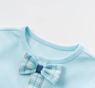 dave&bella 戴维贝拉 婴儿纯棉长袖连体衣 DBH12489 浅蓝色 59
