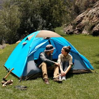 牧高笛 防大风防暴雨铝杆三季三人双层帐野外野营帐篷 冷山3 NXZQU61008 蓝色