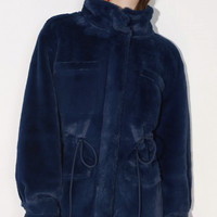 Lily 18450C111 女款纯色毛绒外套