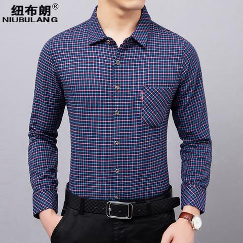 格子衬衫男长袖中年男士商务休闲寸衫秋季新款中老年棉衬衣爸爸装