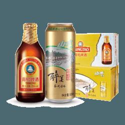 TSINGTAO 青岛山水啤酒 500ml*12听+青岛啤酒 金质小瓶棕金296ml*24瓶