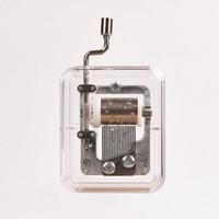 移动专享:约巢 方型音乐盒 手摇八音琴 银色 卡农