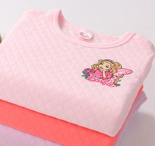 Barbie 芭比 女童夹棉保暖居家服套装 CB9803AF 浅粉色 150cm