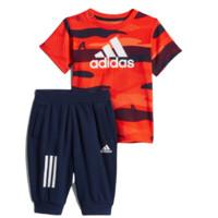 adidas 阿迪达斯 男童训练套装两件套T恤+裤子 DZ2418 多色 105cm