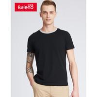 Baleno班尼路男装 新款短袖T恤男 青年撞色圆领休闲短袖T恤男潮流 00A纯黑 L *10件