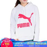 彪马 PUMA 女子 生活系列 Classics Logo Hoody 针织卫衣 595915 02 白色 L码(亚洲码)