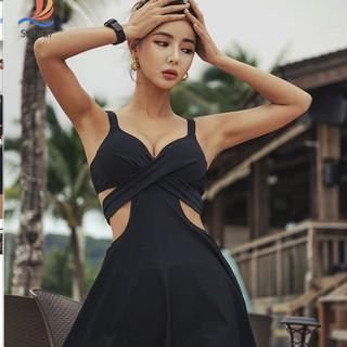 三奇泳衣 女温泉遮肚显瘦网红仙女范保守韩国ins性感连体裙式泳装