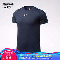 Reebok锐步 运动健身WOR MELANGE SS TEE男子短袖T恤FU3272 FU3293_藏青色 A/L *2件