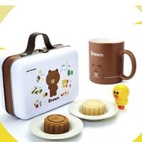 luckincoffee 瑞幸&line friends布朗熊BROWN联名月饼礼盒+马克杯+随机公仔