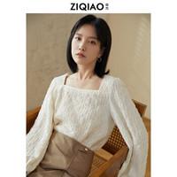 自巧小个子肌理感衬衫女设计感小众2020秋新款泡泡袖法式方领上衣 奶白色 XS