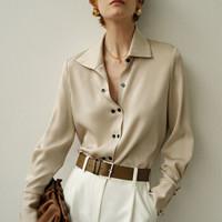 移动专享 : 极漠 女士垂感绸缎衬衫