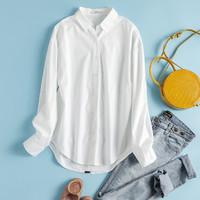真维斯 排扣设计 舒适百搭 新品时尚白色长袖衬衫女