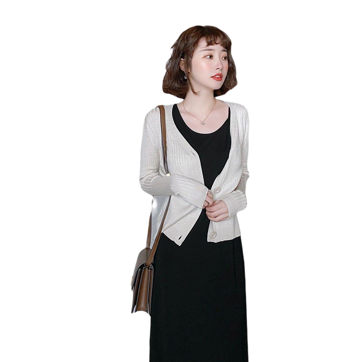 YUZHAOLIN 俞兆林 女士圆领长袖修身薄款毛衣0827NZ877I2 杏色均码