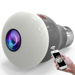 XM 雄迈 360度全景摄像头监控金属灯泡 高清无线wifi网络手机远程监控器家用