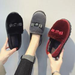 OLOME棉鞋女士秋冬学生保暖蝴蝶结加绒毛毛韩版低帮平底懒人豆豆鞋防滑一脚蹬
