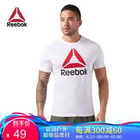 Reebok锐步男子夏季短袖QQR-Stacked健身训练 经典印花T恤CW5367 CW5367-白色 A/M *4件