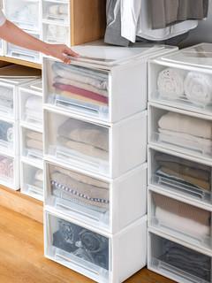 星优 收纳箱抽屉式衣服内衣塑料收纳盒衣柜多层储物整理箱衣物收纳柜子(27*18*9.5cm)3个装