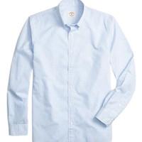 Brooks Brothers 布克兄弟 Red Fleece系列男士棉质细格纹长袖衬衫 蓝色L
