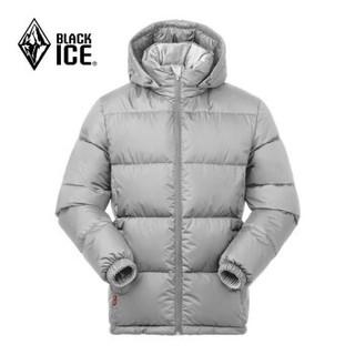 BLACK ICE 黑冰 F8905 男款连帽羽绒服 灰白 L