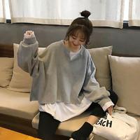 2020新款秋装韩版宽松百搭设计感时尚假两件长袖T恤卫衣女上衣潮