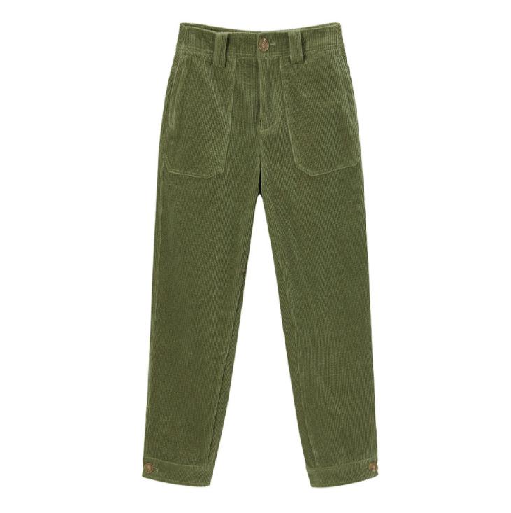 PEACEBIRD 太平鸟 女士灯芯绒锥形休闲长裤A8GB9442346 绿色S