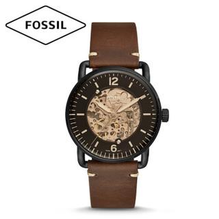 化石(Fossil) 手表 欧美时尚防水镂空全自动机械男表 经典男士时装腕表 休闲舒适复古黑盘棕皮带男表ME3158