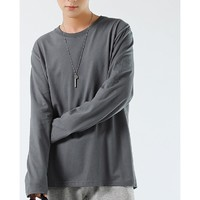 密森缇  男士纯棉长袖T恤