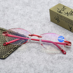 大咖岛老花镜女防蓝光老花眼镜钻石切边时尚超轻老花眼镜 红色 100度老花(建议45-49岁)