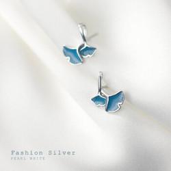 alivinee 阿莉维妮 S925银镀18K蓝色银杏叶耳钉(配银耳塞)