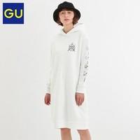 GU 极优 Peanuts合作款 322449 女士中长款连帽加绒卫衣长裙
