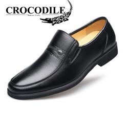 鳄鱼恤 CROCODILE 男士正装皮鞋套脚柔软圆头商务休闲皮鞋子男 535 黑色 43