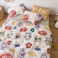 日式二次元卡通印花全棉套件印花床单被套纯棉床上用品三/四件套