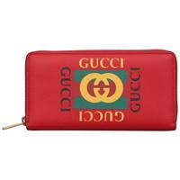 古驰 GUCCI 女士红色牛皮印花拉链长款钱包 496317 0GDAT 6461